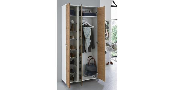 GARDEROBENSCHRANK 90/193/37 cm  - Chromfarben/Eichefarben, Design, Glas/Holz (90/193/37cm) - Dieter Knoll