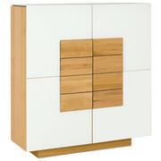HIGHBOARD Wildeiche furniert, massiv geölt Weiß, Eichefarben  - Eichefarben/Weiß, Design, Glas/Holz (128/138/43cm) - Voglauer
