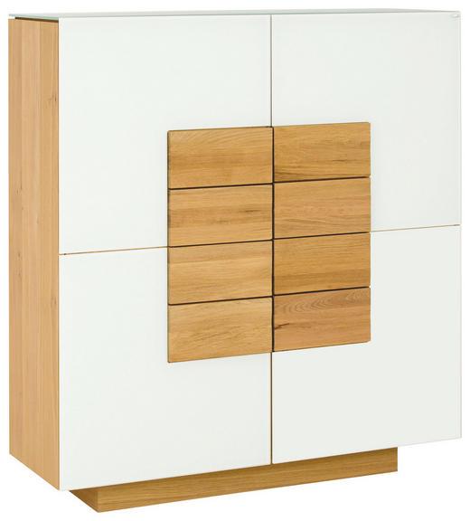 HIGHBOARD Wildeiche furniert, massiv geölt Eichefarben, Weiß - Eichefarben/Weiß, Design, Glas/Holz (128/138/43cm) - Voglauer