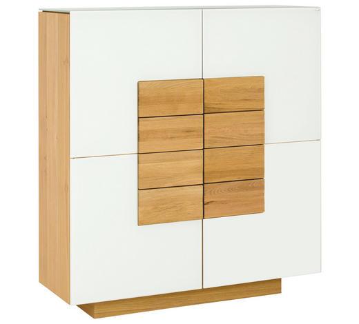 HIGHBOARD Wildeiche furniert, massiv geölt - Eichefarben/Weiß, Design, Glas/Holz (128/138/43cm) - Voglauer
