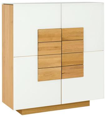 KOMODA HIGHBOARD - bílá/barvy dubu, Design, dřevo/sklo (128/138/43cm) - Voglauer