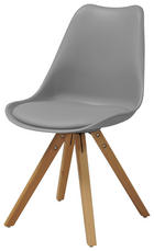 STUHL Lederlook Buche massiv Buchefarben, Grau - Buchefarben/Grau, Design, Holz/Kunststoff (48,5/82/54cm) - Carryhome