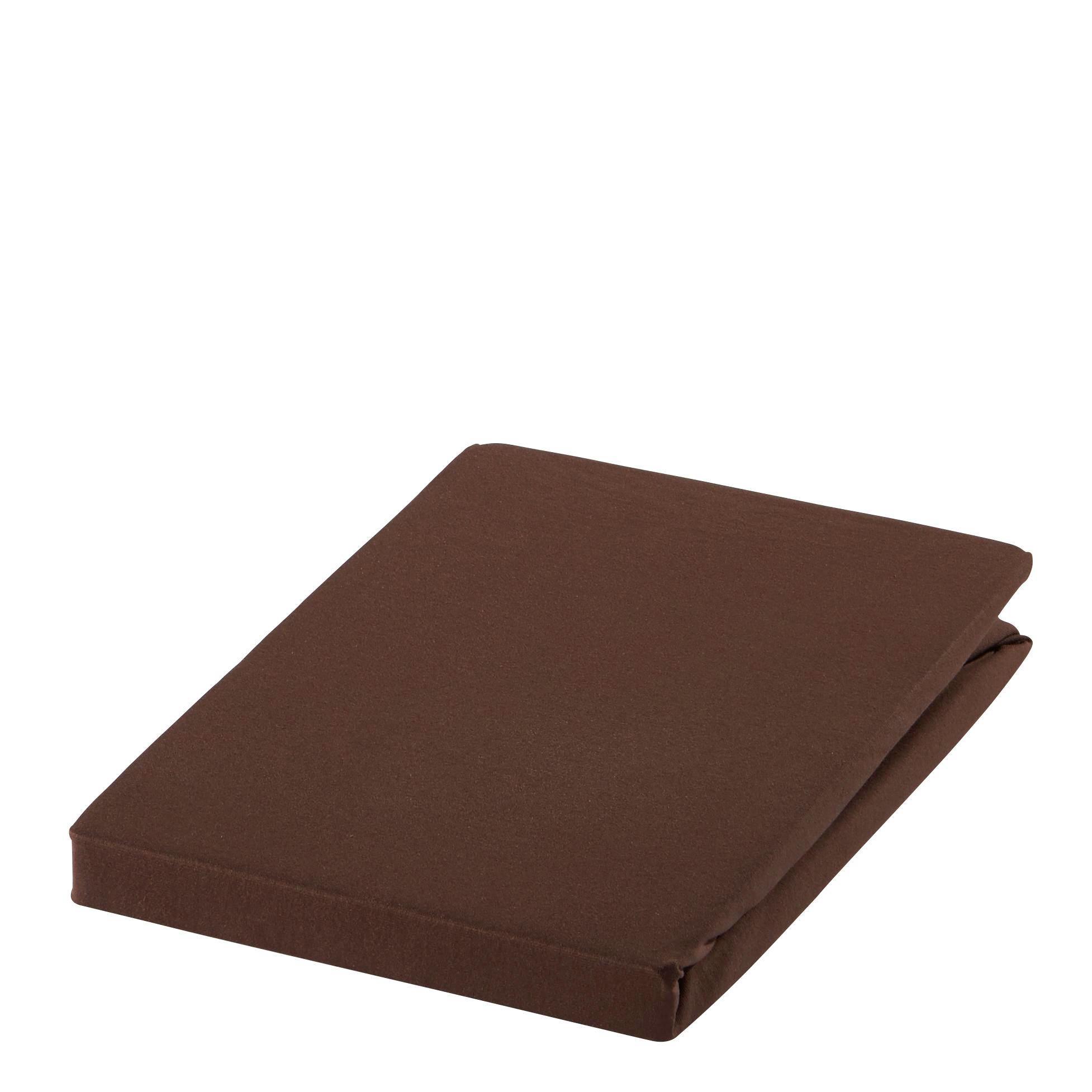 SPANNBETTTUCH Zwirn-Jersey Dunkelbraun bügelfrei, für Wasserbetten geeignet - Dunkelbraun, Basics, Textil (150/200cm) - ESTELLA