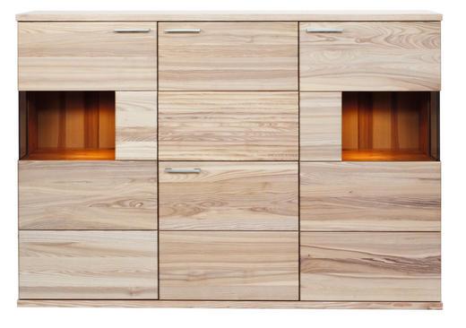 HIGHBOARD Kernesche massiv Eschefarben - Eschefarben/Alufarben, Design, Glas/Holz (181/128/41cm) - VENDA