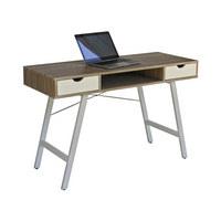 SCHREIBTISCH - Eichefarben/Weiß, Design, Holzwerkstoff/Metall (120/75/48cm) - CARRYHOME