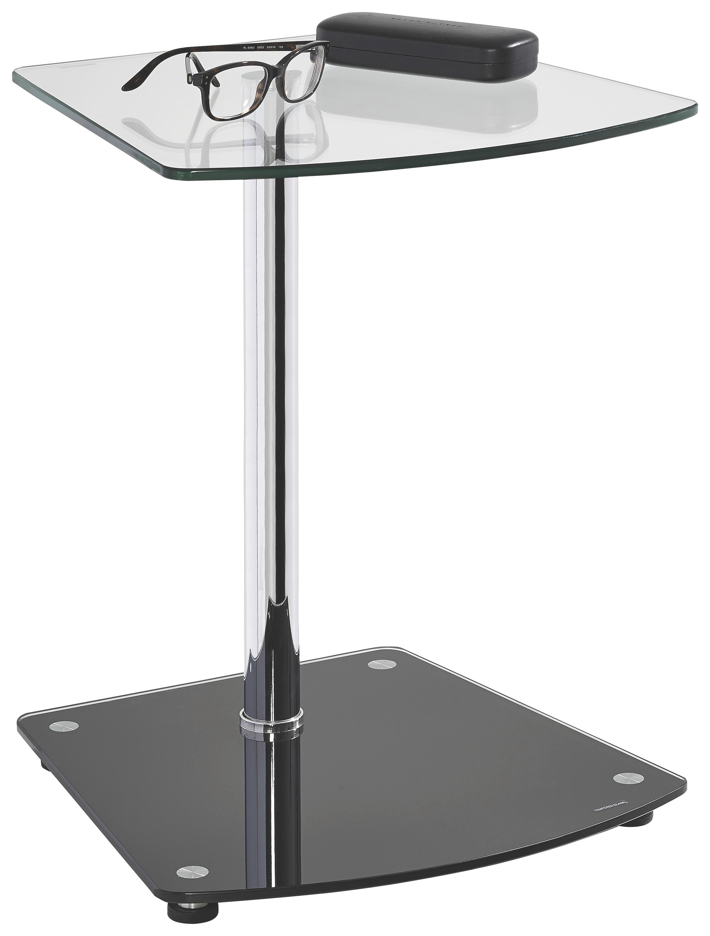 BEISTELLTISCH Freiform Chromfarben, Schwarz - Chromfarben/Schwarz, Design, Glas/Metall (38/50/38cm) - XORA
