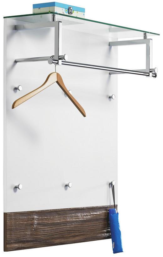 GARDEROBENPANEEL Nussbaum Nussbaumfarben, Weiß - Nussbaumfarben/Weiß, Design, Glas (91/112/30cm) - Cassando