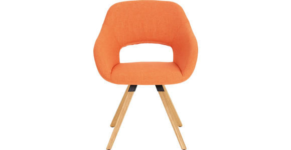 STUHL Wildeiche massiv Eichefarben, Orange - Eichefarben/Orange, Natur, Holz/Textil (62/80/60cm) - Valnatura