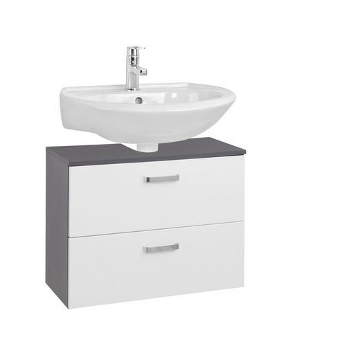 WASCHBECKENUNTERSCHRANK Weiß - Chromfarben/Graphitfarben, Design, Holzwerkstoff/Metall (70/54/35cm) - Carryhome