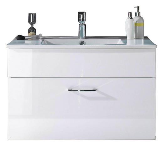 WASCHTISCHUNTERSCHRANK Weiß - Chromfarben/Weiß, Design, Holzwerkstoff/Stein (80/50/46cm)