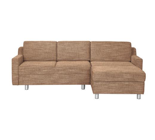 WOHNLANDSCHAFT in Textil Beige - Beige/Alufarben, KONVENTIONELL, Textil/Metall (236/158cm) - Sedda