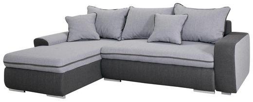 SEDEŽNA GARNITURA  svetlo siva, temno siva tekstil - temno siva/nikelj, Design, umetna masa/tekstil (250/85/175cm) - Boxxx