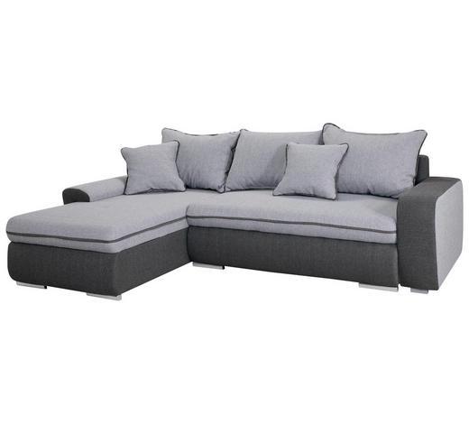 SEDEŽNA GARNITURA,  svetlo siva, temno siva tekstil  - temno siva/nikelj, Design, umetna masa/tekstil (175/85/250cm) - Boxxx
