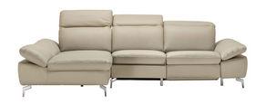 SEDEŽNA GARNITURA,  odtenki umazano rjave tekstil, usnje  - odtenki umazano rjave/krom, Design, kovina/tekstil (167/275cm) - Xora