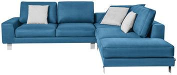 WOHNLANDSCHAFT in Textil Blau  - Chromfarben/Blau, Design, Textil/Metall (316/273cm) - Dieter Knoll