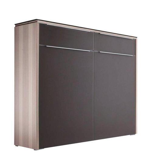 KOMMODE furniert Braun, Eschefarben - Eschefarben/Silberfarben, Design, Glas/Holzwerkstoff (119/108/36cm) - Cassando