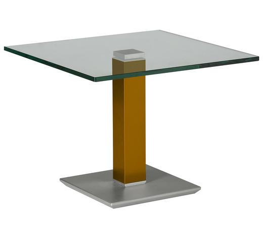 BEISTELLTISCH in Metall, Glas 60/60/46-65 cm - Edelstahlfarben/Gelb, Design, Glas/Kunststoff (60/60/46-65cm)
