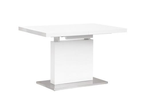 ESSTISCH rechteckig Chromfarben, Weiß - Chromfarben/Weiß, Design, Holzwerkstoff/Metall (120(160)/80/76cm) - Carryhome