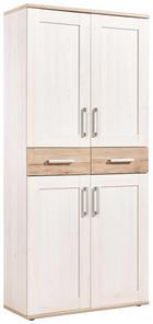 SCHUHSCHRANK Eichefarben, Weiß - Eichefarben/Alufarben, Design, Holzwerkstoff/Kunststoff (90/195/38cm) - XORA