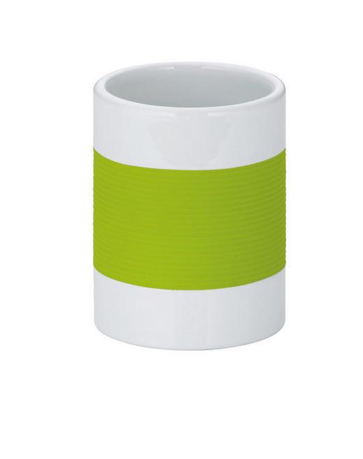 ZAHNPUTZBECHER - Weiß/Grün, Basics, Kunststoff (7,5/10cm)