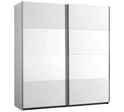 SCHWEBETÜRENSCHRANK 2-türig Weiß  - Alufarben/Weiß, KONVENTIONELL, Glas/Holzwerkstoff (181/197/61cm) - Xora