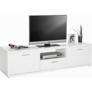 KOMODA - NISKA - bijela/siva, Design, drvni materijal/plastika (180/47/45cm)