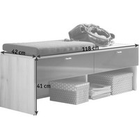 GARDEROBENBANK 118/41/42 cm - Silberfarben/Buchefarben, Design, Holzwerkstoff/Metall (118/41/42cm) - Cassando