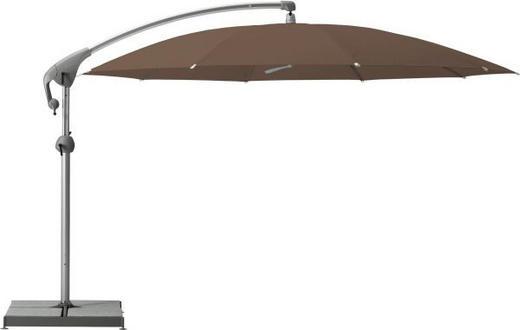 AMPELSCHIRM 350 cm Braun - Braun, Design, Kunststoff/Textil (350cm)