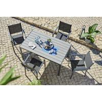 GARTENTISCH Metall, Kunststoff Grau - Grau, Design, Kunststoff/Metall (150 72 90cm) - Ambia Garden