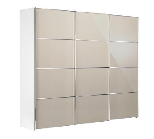 SCHWEBETÜRENSCHRANK in Weiß, Beige  - Chromfarben/Beige, Design, Glas/Holzwerkstoff (249/222/68cm) - Moderano