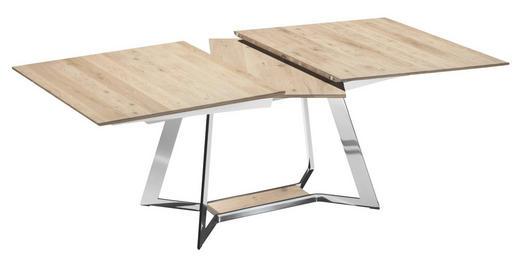 ESSTISCH Eiche mehrschichtige Massivholzplatte (Tischlerplatte) rechteckig Chromfarben, Eichefarben - Chromfarben/Eichefarben, Design, Holz/Metall (190(250)/95/74cm)