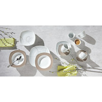 Porzellan  DESSERTTELLER  quadratisch  - Braun/Weiß, Basics, Keramik (20cm) - Ritzenhoff Breker