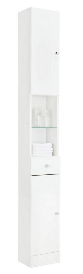 HÖGSKÅP - vit/kromfärg, Klassisk, glas/träbaserade material (25/185.5/20cm) - Xora