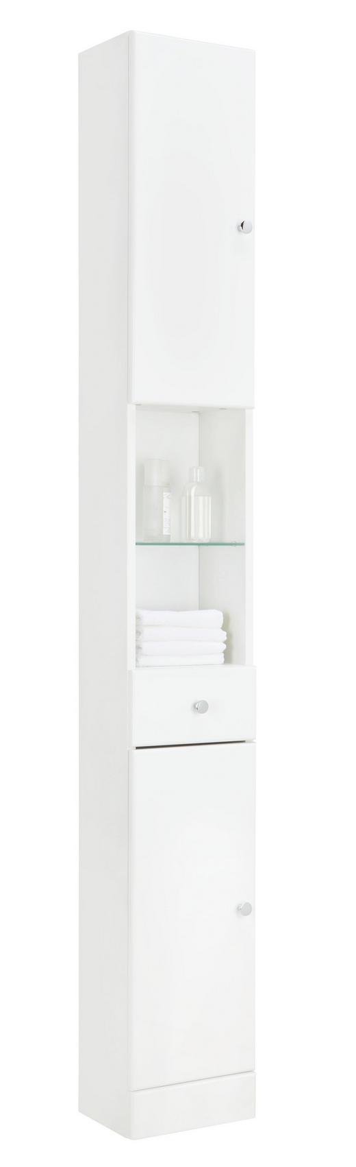 HOCHSCHRANK Weiß - Chromfarben/Weiß, KONVENTIONELL, Glas/Holzwerkstoff (25/185.5/20cm) - Carryhome
