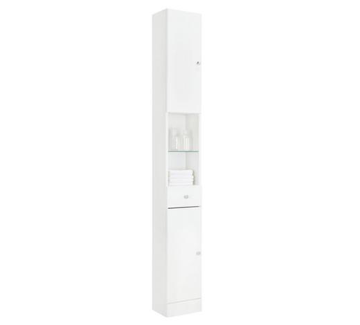 VYSOKÁ SKŘÍŇ - bílá/barvy chromu, Konvenční, kompozitní dřevo/sklo (25/185.5/20cm) - Xora