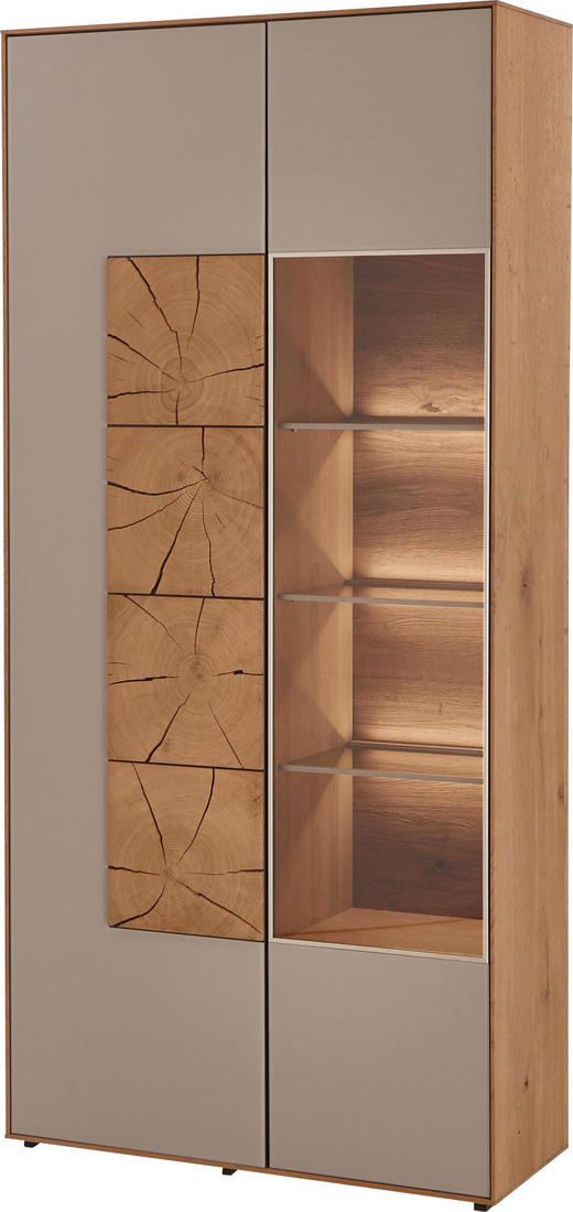 VITRINE Kerneiche vollmassiv Eichefarben, Fango - Fango/Eichefarben, Design, Glas/Holz (88,5/196/39cm) - Valnatura