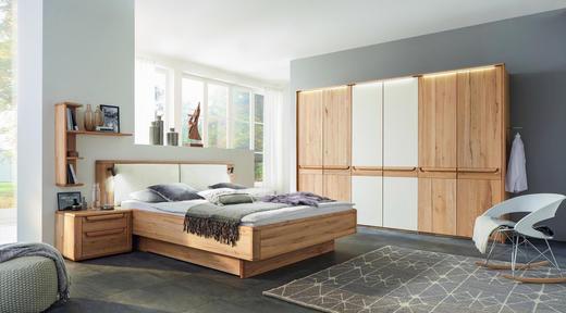 SCHLAFZIMMER Buchefarben, Creme - Buchefarben/Creme, Design, Holz/Textil (180/200cm) - Valnatura