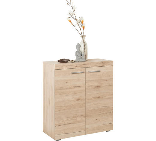 SCHUHSCHRANK Eichefarben  - Eichefarben/Silberfarben, Design, Holzwerkstoff/Kunststoff (80/86/35cm)