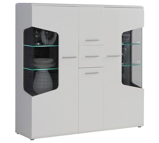 HIGHBOARD 155/150/41 cm - Eichefarben/Alufarben, Design, Glas/Holz (155/150/41cm) - Hom`in