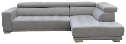 WOHNLANDSCHAFT in Textil Hellgrau  - Chromfarben/Hellgrau, Design, Textil (207/301cm) - Xora