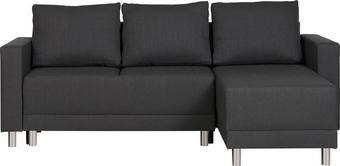 WOHNLANDSCHAFT Webstoff Bettkasten, Rücken echt, Rückenkissen, Schlaffunktion, Stauraum Anthrazit - Anthrazit/Silberfarben, Design, Kunststoff/Textil (215/145cm) - CARRYHOME