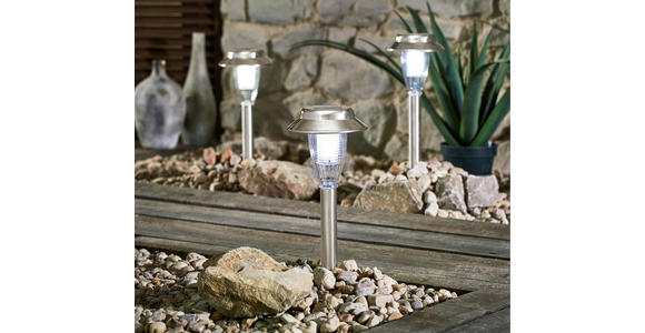 3er LED-Solarleuchtenset - Klar/Edelstahlfarben, Design, Kunststoff/Metall (15/43,5cm) - Boxxx