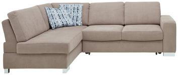 WOHNLANDSCHAFT Beige - Chromfarben/Beige, KONVENTIONELL, Textil/Metall (178/245cm) - Venda