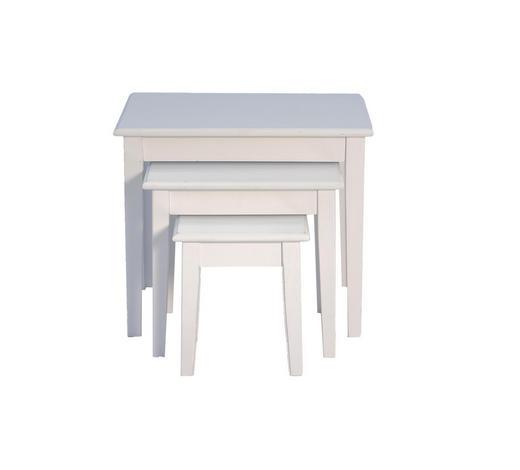 BEISTELLTISCHSET Paulownia rechteckig Weiß  - Weiß, LIFESTYLE, Holz (40/50/52cm) - Sonne