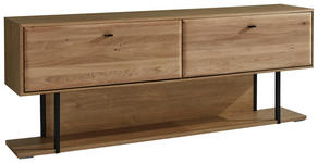 LOWBOARD Eiche massiv geölt Eichefarben - Eichefarben/Schwarz, KONVENTIONELL, Holz/Metall (184/72/38cm) - Cantus