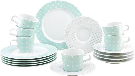 Porzellan  KAFFEESERVICE 18-teilig - Türkis/Schwarz, Basics, Keramik - Seltmann Weiden