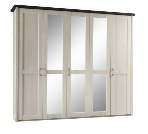 DREHTÜRENSCHRANK 5-türig Braun, Weiß, Pinienfarben  - Weiß/Braun, Design, Glas/Holzwerkstoff (241/212/62cm) - Carryhome
