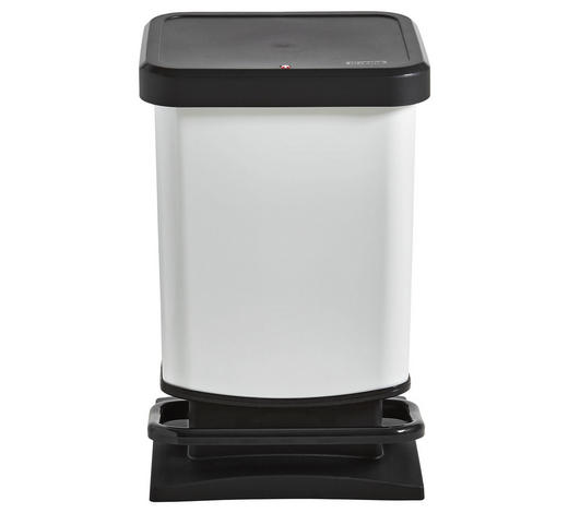 ABFALLEIMER 20 L  - Schwarz/Weiß, Basics, Kunststoff (29,3/26,6/45,7cm) - Rotho