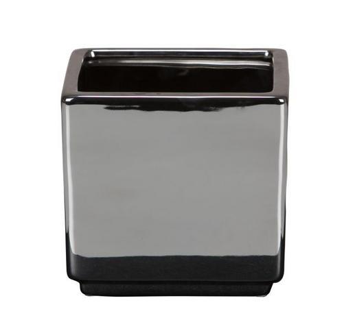 NÁDOBA NA KVĚTINÁČ - barvy stříbra, Design, keramika (15,3/15,3/14,5cm)