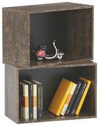 REGÁLOVÝ DÍL - černá/hnědá, Design, dřevěný materiál (52/34/26cm) - CARRYHOME